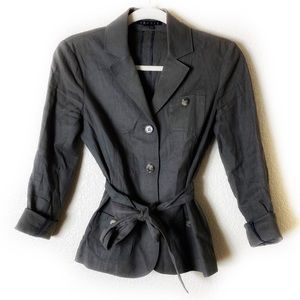 Theory Dark Gray Linen Tie Waist Blazer